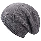 FURTALK Winter Knit Hats for Women- Cashmere and Merino Wool Slouchy Beanie Skull Hat Caps Designed (One Size, A-Grey)