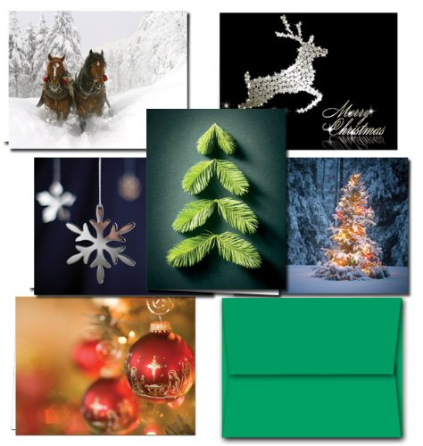72 Holiday Cards - Tis the Season Set - 6 Designs - Blank Cards - Green Envelopes Included
