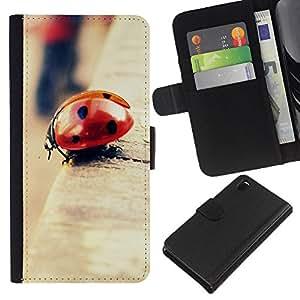 KLONGSHOP // Tirón de la caja Cartera de cuero con ranuras para tarjetas - Mariquita Bokeh - Sony Xperia Z3 D6603 //