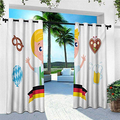 leinuoyi German, Outdoor Curtain Waterproof, Bavarian Boy with Blonde Hair with Oktoberfest Symbols Beer Balloon and Pretzel, for Balcony W72 x L108 Inch Multicolor