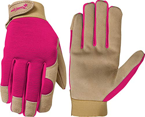 Leather Work Gloves Palm Suede - Wells Lamont Work Gloves, Women's, Suede Leather Palm Ultra Comfort, Medium, Color Received May Vary (1042M)