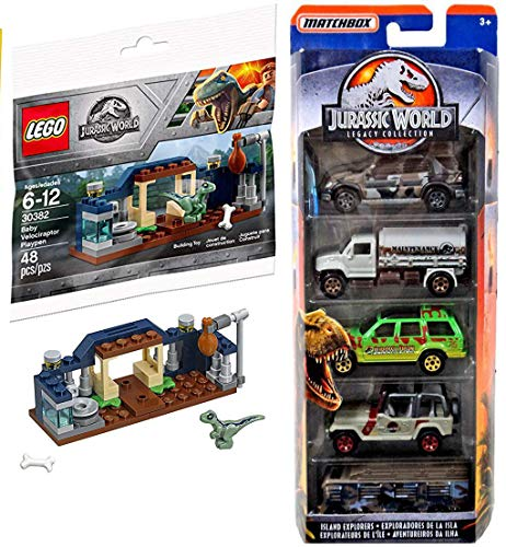 (LEGO Dino Park Jurassic World Baby Velociraptor Brick Set Bundled with + Classic Legacy Collection Matchbox 5-Pack Island Explorers Off-Road Vehicles)