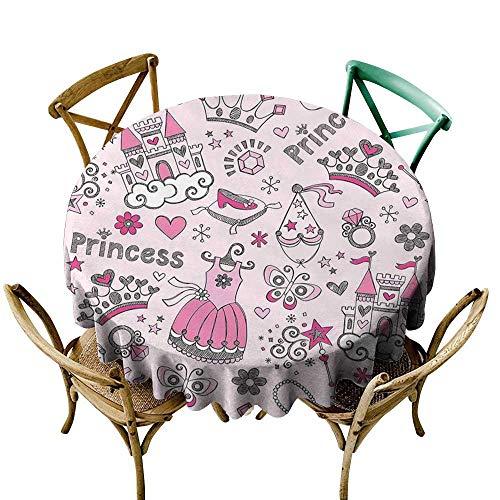 Luunins Round Tablecloth Plaid Girls Kids Room Decor,Princess Pop Slipper Icons Fairy Castle Butterfly Heart Wand Diamond Tiara D50,for Umbrella Table