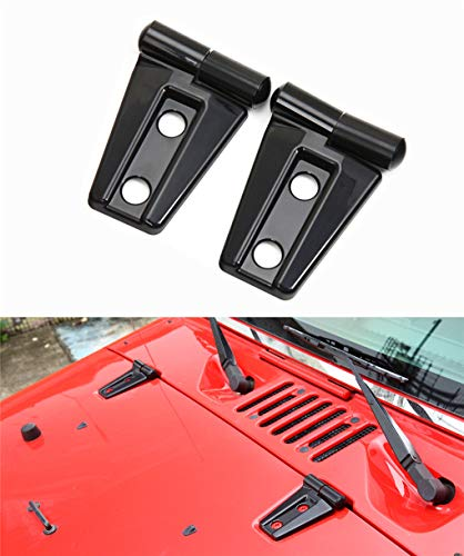 2pack ABS Front head Engine hood Hinge Cover Molding Trim for Jeep Wrangler JK Unlimited 2/4Door 2007-2018(black)
