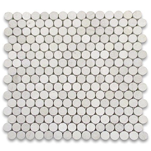 Moleanos Beige Limestone Penny Round Mosaic Tile 3/4 inch (Limestone Mosaic Tile)