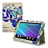 kwmobile Chic synthetic leather case for the Acer Iconia Tab 10 (A3-A20) in blue mint beige convenient stand function and Design butterflies vintage
