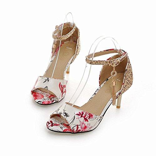 Carolbar Womens Floral Print Peep Toe Ankle Strap Buckle Rhinestones Pendant Sequins High Stiletto Heel Dress Sandals Red S1GQd