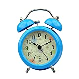 Purewill 3'' Classical Retro Twin Bell Mute Silent Quartz Movement Non Ticking Sweep Second Hand Bedside Desk Analog Alarm Clock With Nightlight And Loud Alarm for Bedside getting up Bedroom, Desk