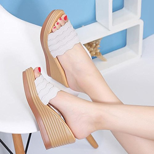 Sandals Frosted Upper Female Summer Slope High Heel Shoes Slippers Polyurethane Thick Bottom Gray mfU9R1ZG3e