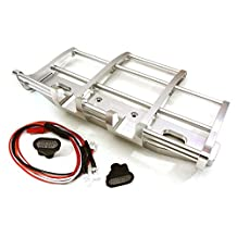 Integy RC Model Hop-ups C27116SILVER CNC Alloy Front Bumper w/ LED for Tamiya 1/14 King Hauler & Globe Liner