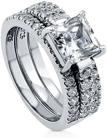 BERRICLE Rhodium Plated Sterling Silver Princess Cut Cubic Zirconia CZ 3-Stone Anniversary Engagement Wedding Ring Set 3.58 CTW