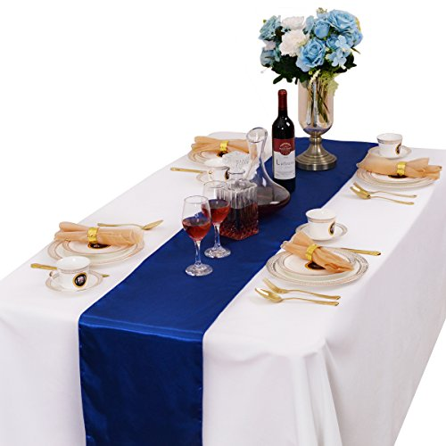 - LOVWY Pack of 20 Satin Table Runner 12 x 108 Inch for Wedding Party Engagement Event Birthday Graduation Banquet Decoration (Colors Optional) (Royal Blue)