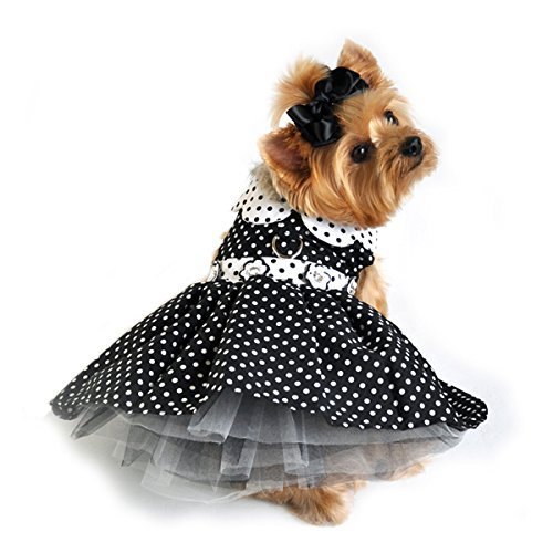 Doggie Design Black White Polka Dot Daisy Party Harness Dress comes with matching Leash for small dogs in Size Medium (Chest 16-19'' Neck 13-16'' - Pets weighting 11-15lbs) by DOGGIE DESIGN