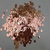 Yalulu 80 Grams Metallic Rose Gold Pink Round Circles Tissue Paper Confetti Table Confetti for Birthday Parties, Weddings, Anniversaries, Baby and Bridal Showers