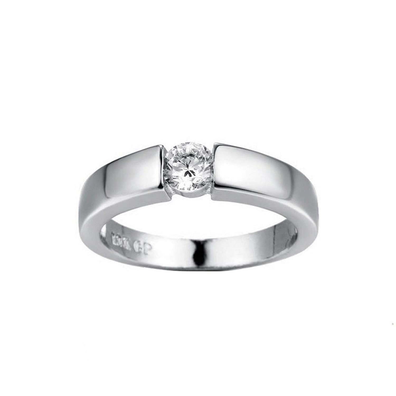 Leedford Women Elegant 925 Sterling Silver Ring CZ Diamond Eternity Engagement Wedding Band Ring Promise Fine Rose Gold Rings