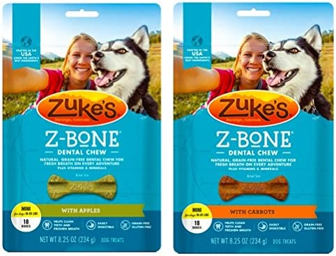 Zuke s Z-Bones Natural Grain-Free Dental Chew Mini Pack of 2 , Apple and Carrot – 36 Chew Bones Total