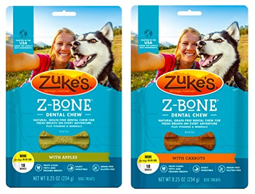 - Zuke's Z-Bones Natural Grain-Free Dental Chew Mini (Pack of 2), Apple and Carrot - 36 Chew Bones Total