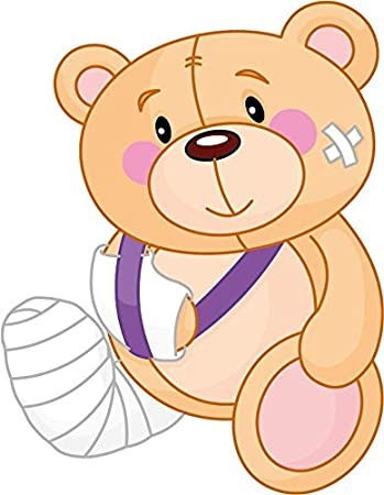 amazon com cartoon bandaged sick teddy bear sticker decal design 3