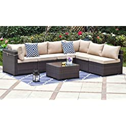 Garden and Outdoor Gotland Outdoor Patio Furniture Set 7 Pieces Sectional Rattan Sofa Set Manual Wicker Patio Conversation Set with A… patio furniture sets