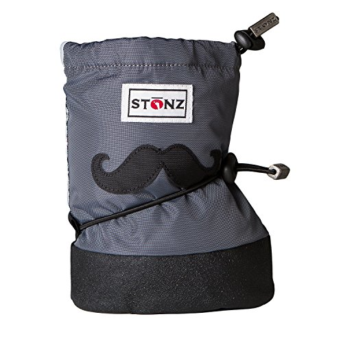 Stonz Three Season Stay-On Baby Booties, for Bare Feet or Shoes, for Mild or Cold Snow Weather, Moustache Black - Grey Small]()