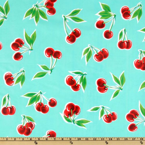 OilCloth International Oil Cloth Stella Cherries Aqua Fabric by The Yard, ()