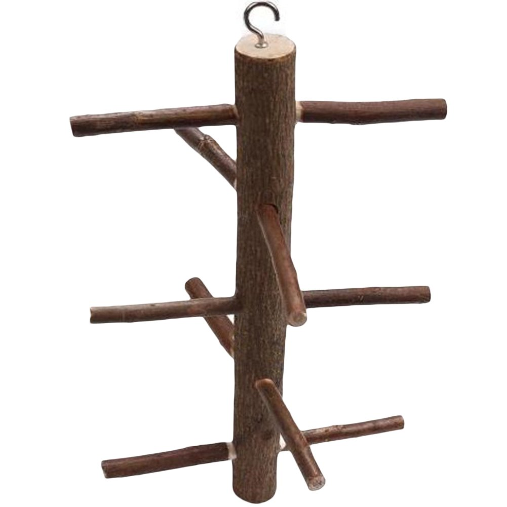 Wildgirl Parrot Natural Wood Bark Rotating Ladder 10 Branches Jumping Perch Toy
