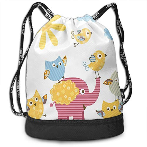 UauhOllxigm Sun Clouds Cute Elephant Birds and Owls Outdoor Bundle Backpack Drawstring Backpack Bags Pack Travel Sport Gym Sack Bag for Men/Women and Kids ()