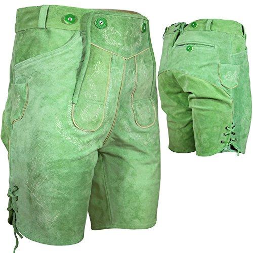 PAULGOS Trachten Lederhose --- Echtes Leder --- Kurz --- Grün ---, Herren Größe:52