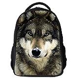 Datomarry Simple Wolf backpack Kids Teens Middle School Book Bag