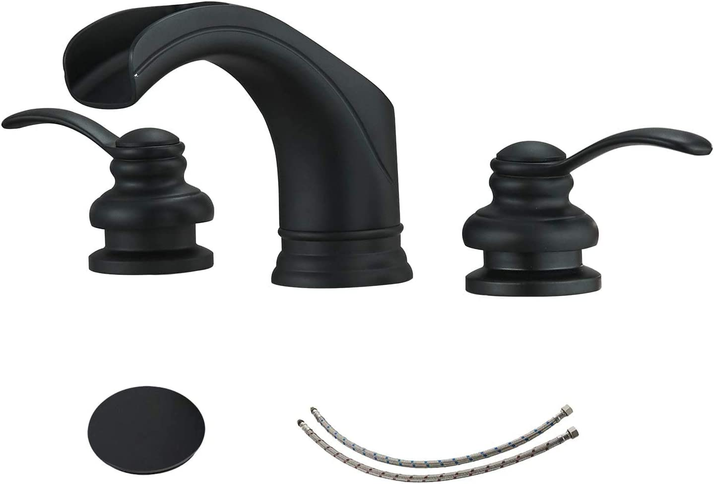 Black Widespread Bathroom Faucet 3 Hole Waterfall 2-Handle 8-16 Inch with Pop Up Drain Assembly Sink Vanity Farmhouse with Overflow Glacier Bay Supply Line Lead-Free by Homevacious