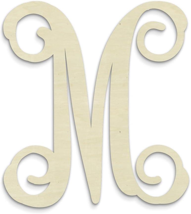 UNFINISHEDWOODCO Single Vine Unfinished Monogram M Decorative Letter, 13-Inch