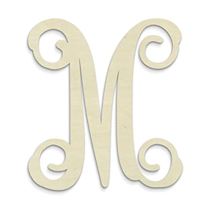 amazon com unfinishedwoodco single vine unfinished monogram m