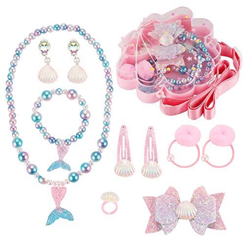 Seatecks 10 Pack Leuke Sieraden Kits voor Kleine Meisjes Shell Doos, Ketting Armband Ring Oorbellen Haar Clips Haar Ties…