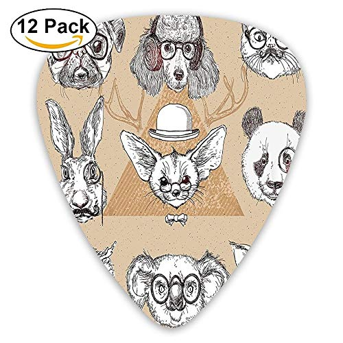 Sketchy Hand Drawn Image Of Dogs With Headphones Accessories Collage Art Guitar Picks 12/Pack Set
