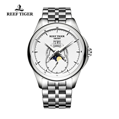 Reef Tiger Fashion Automatic Watches for Men Moon Phase Big Date Stainless Steel Watches RGA1928 (RGA1928-YWY) (Automatic Moon Phase Watch)