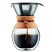Bodum 11682-109 8 Cup Double Wall Pour Over Coffee Maker with Cork Grip, 34 oz