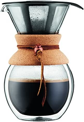 BODUM 11682-109 Double Wall Pour Over Coffee Maker with Cork Grip, 8 cup, 34 Ounce,
