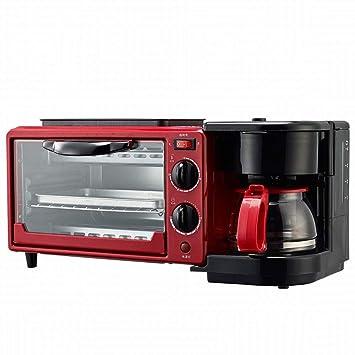 CN Multifunción hogar tostadora automática Mini hornada Horno eléctrico Tostada sartén café una máquina de Desayuno,Rojo,1: Amazon.es: Deportes y aire libre