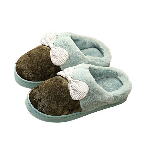 Pantofole Di Cotone Delle Donne Di Inverno Cybling Bella Bowknot Fluffy Ragazze Fodera Di Pelliccia Pantofole Casa Antiscivolo Verde