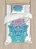 Gypsy Twin Size Duvet Cover Set by Lunarable, Mandala Boho Paisley Petals Ethnic Meditation Symbol Universe Sacred, Decorative 2 Piece Bedding Set with 1 Pillow Sham, Dried Rose Blue Turquoise
