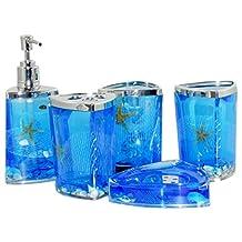 Beach Seashell + Starfish Bathroom Accessories Set Tumbler/Soap Dish/Liquid Soap Dispenser/Toothbrush Holder- Blue Oil