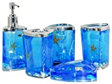 Beach Seashell + Starfish Bathroom Accessories Set Tumbler/Soap Dish/Liquid Soap Dispenser/Toothbrush Holder- Blue Oil