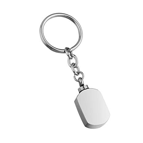 By Cylinder with Blank Stamping Tag Cremation Urn Keychain Keepsake Stainless Steel Memorial Ashes Keyring