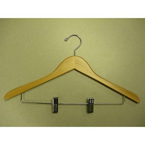 VidaNaticle Genesis flat suit hanger w/wire clips natural, 44.5Lx1.2Tcm, 50pcs/ctn - Genesis Flat Suit Hanger