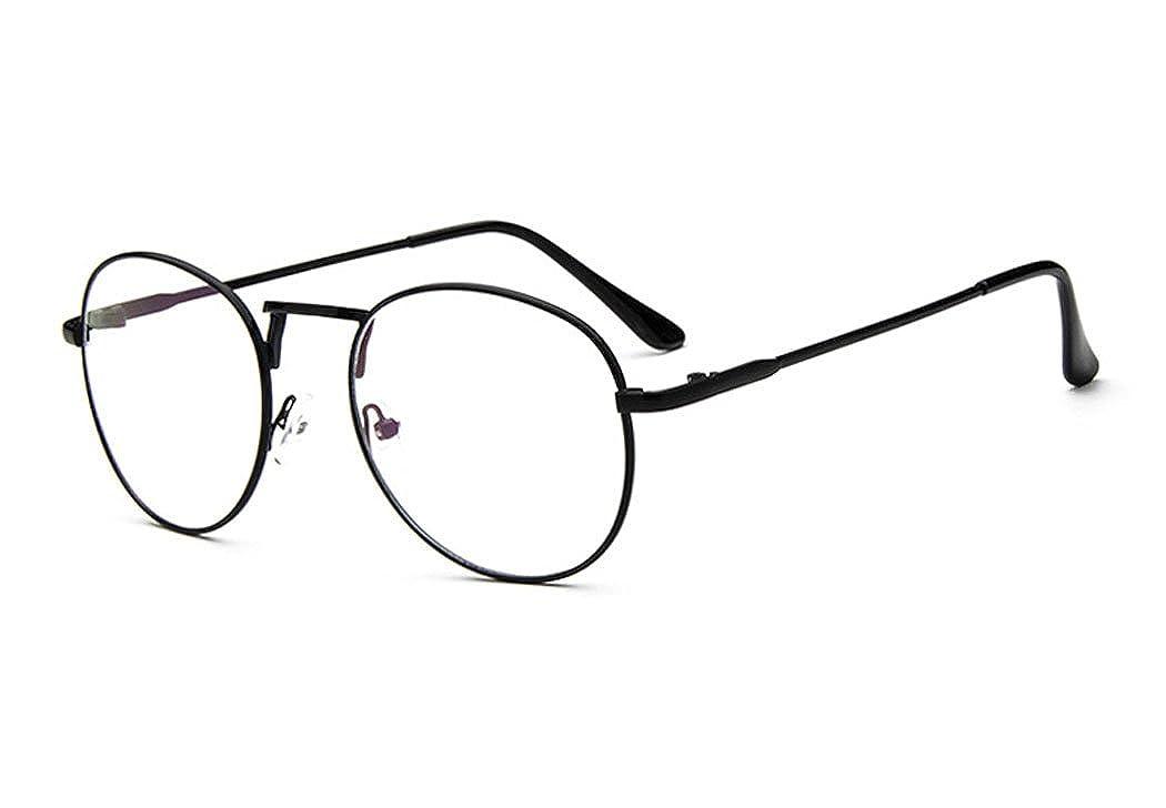 f0326292a663c Sunbo Unisex Round Metal Frame Clear lens Vintage Retro Geek Fashion  Glasses Specs Black(Size  One Size)  Amazon.co.uk  Clothing