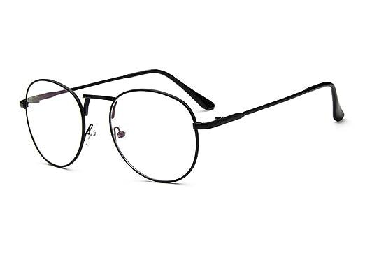 6d36e13bb0 Sunbo Unisex Round Metal Frame Clear lens Vintage Retro Geek Fashion Glasses  Specs Black(Size  One Size)  Amazon.co.uk  Clothing