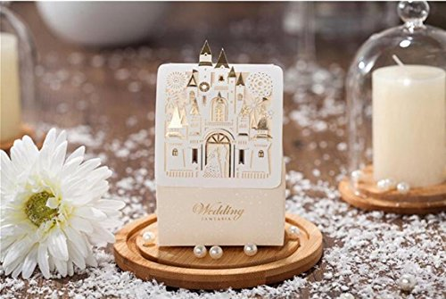 Finex® 100 pcs Premium Korean Wedding Design *Bride & Groom under Fireworks Castle* Party Favors Candy Boxes *Hollow Carved Laser Die Cut Gold Foil Embossing* DIY Sweet Treat box for Guests by Finex