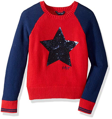 Tommy Hilfiger Big Girls' Pullover Fashion Sweater, Haute red Star, Medium 8/10 (Tommy Hilfiger Sweater Red Women)