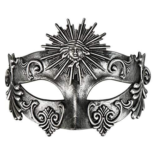 Phantom of The Opera Mask Venetian Masquerade Mask Vintage Half Face Masquerade Mask (Antique Silver-Sun2) -