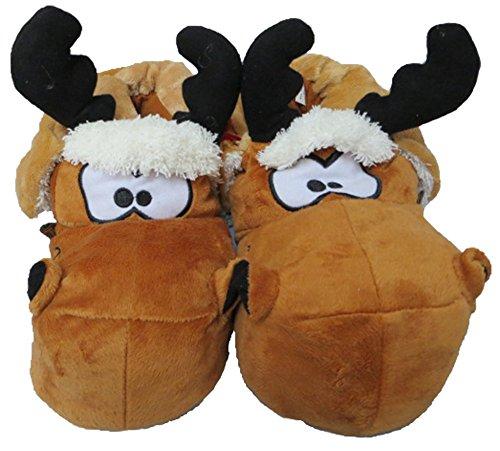 Men's Women's Children's Unisex Novelty Reindeer Moose Novlety Funny Slippers NEW UK 5-12 Brown hHlXtNkkdV